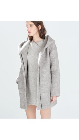 coat jacket grey coat grey marl jersey trf casual spring jacket fall jacket fashion style outerwear winter jacket minimalist