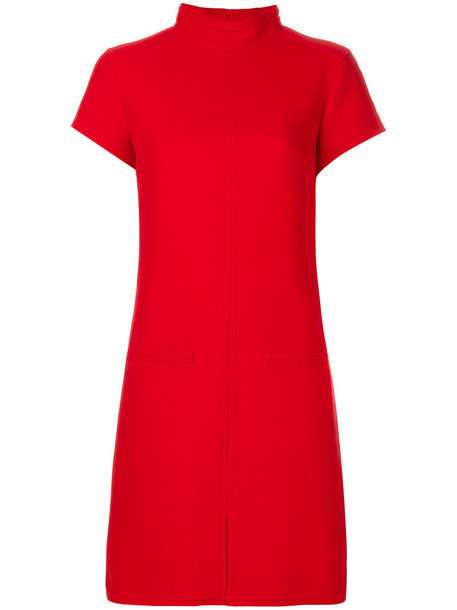 COURRÈGES dress sweater dress high women high neck spandex wool red
