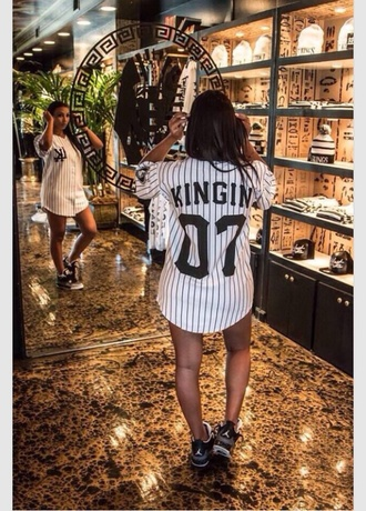blouse yankees jersey stripes oversized women shirt