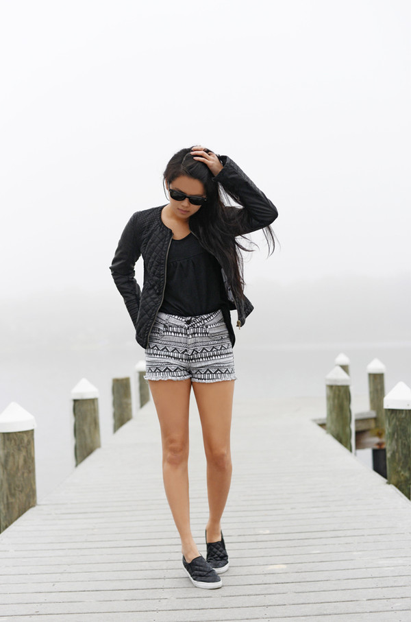 behind the seams shorts jacket t-shirt shoes sunglasses