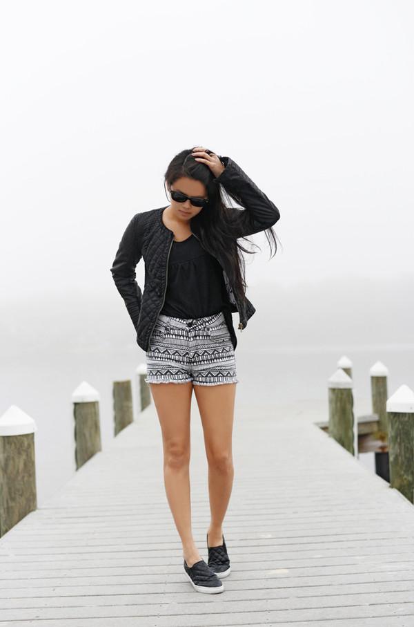 behind the seams shorts jacket t-shirt shoes sunglasses