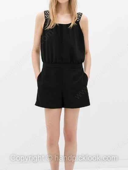 Black Straps Sleeveless Pockets Loose Jumpsuit - HandpickLook.com