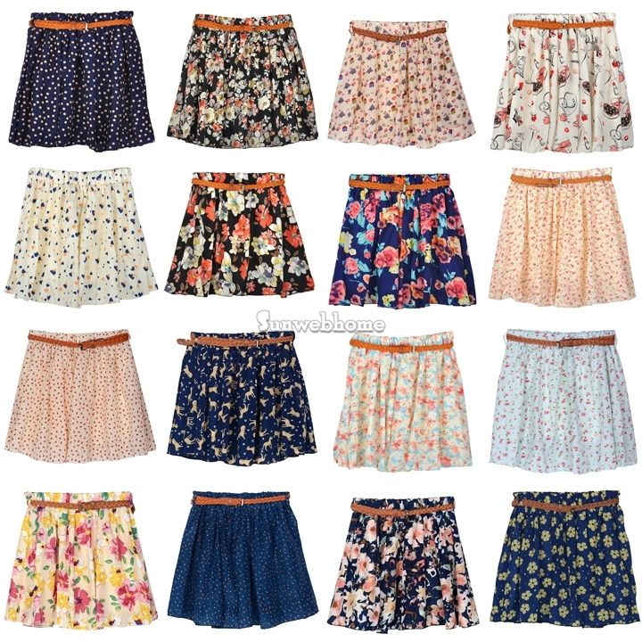 New Charming Sexy High Waist Pleated Floral Chiffon Short Mini ...