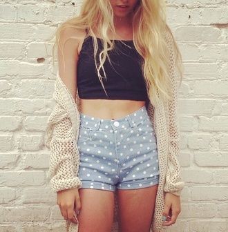 shorts light blue polka dots jeans black crop top spagetti straps crop tops black brown ligh cardigan knitwear loose sweater nail polish loose knitted
