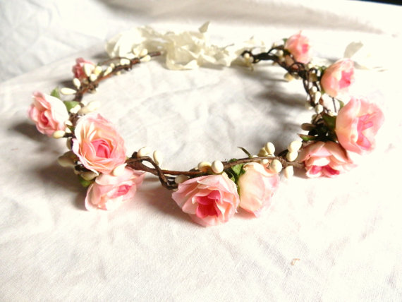 Woodland flower floral crown hair wreath pink by prettylittletitch