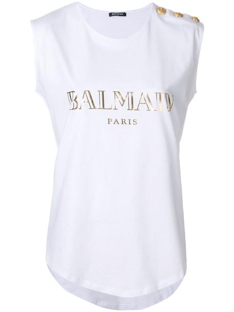 Balmain - logo T-shirt - women - Cotton - 38, White, Cotton