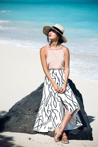 gary pepper girl blogger hat halter neck spaghetti strap white skirt summer outfits sandals blouse