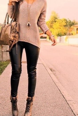 sweater knit leggings pleather heels red lime sunday