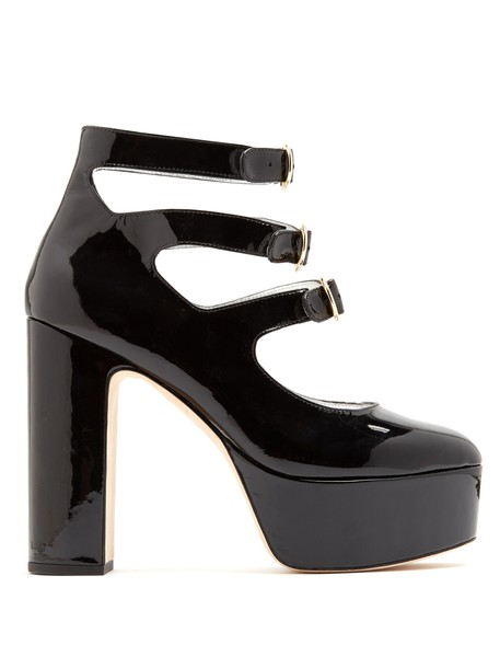 ALEXACHUNG pumps platform pumps leather black shoes