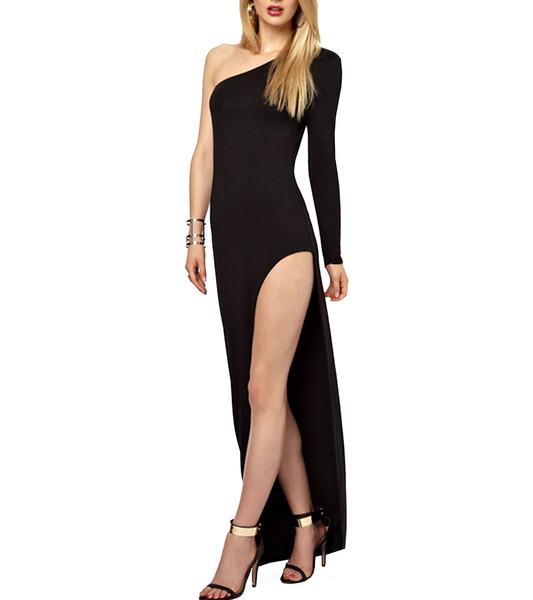 Andrea one shoulder slit dress