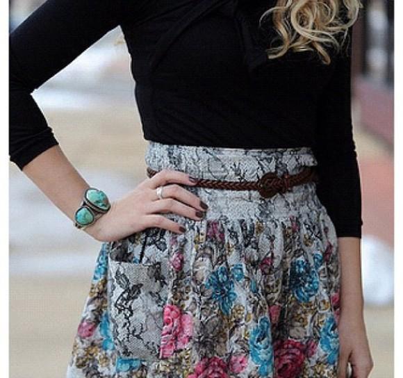 floral black skirt flower patterns floral skirt blue pink