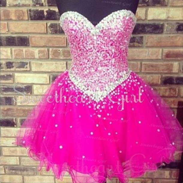 Dress Homecoming Dress Pink Poofy Sparkle Wheretoget