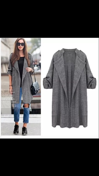 coat grey trench coat duster coat long coat winter jacket autumn/winter casual style