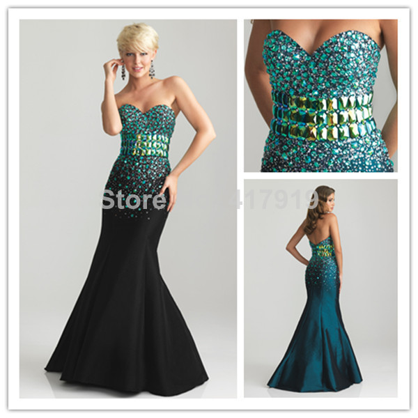 Sexy 2014 Mermaid Sweetheart Rhinestone Crystal Beads Sequins Sparkly Long Green Engagement Evening Dress Birthday E33-in Evening Dresses from Apparel & Accessories on Aliexpress.com