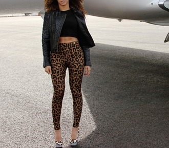 pants beyonce pattern print animal print leopard print brown black leather jacket shoes heels jacket panter
