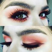 make-up,orange eyeshadow,red eyeshadow,purple eyeliner,eyeliner,eyes,lashes,colorful,warm tones,warm colours,pretty,sparkly eyeshadow,winged eyeliner,mascara