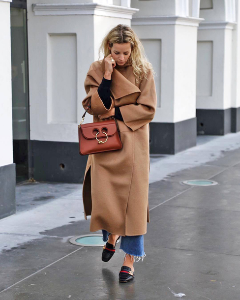 coat brown bag tumblr camel camel coat denim jeans cropped jeans shoes mules oversized oversized coat bag