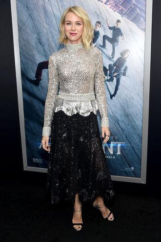 skirt top silver naomi watts sandals blouse lace dress midi skirt metallic