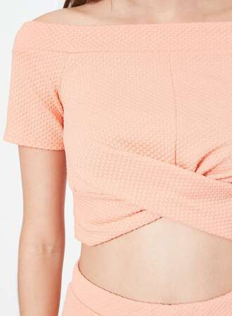 top crop tops peach draped off the shoulder top