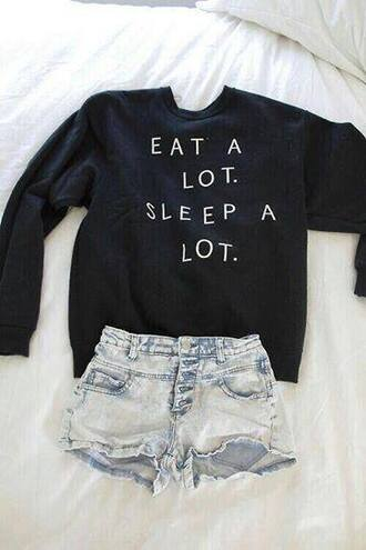 sweater eat a lot sleep a lot black sweater needthisinmylife