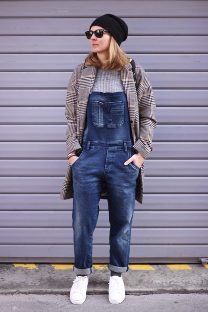 jane's sneak peak blogger denim overalls tartan