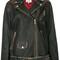 Tommy hilfiger - leopard print panel biker jacket - women - goat skin/polyester/viscose/polyurethane resin - 2, black, goat skin/polyester/viscose/polyurethane resin