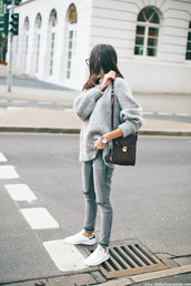 shoes,casual,sneakers,low top sneakers,denim,jeans,grey sneakers,sweater,grey sweater,knit,knitwear,knitted sweater,all grey everything