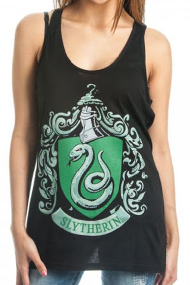 harry potter slytherin green black snake tank top cool girl style