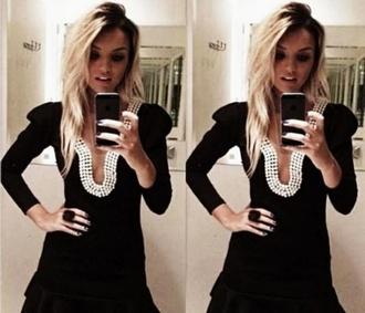 dress little black dress mini dress pearl white pearls pearl collared dress