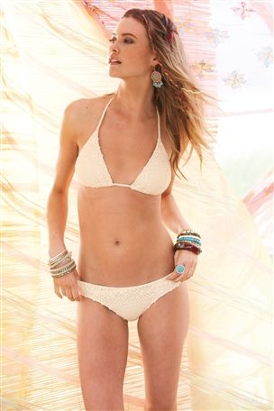 Buy cream crochet swimwear: triangle bikini top from the next uk online shop