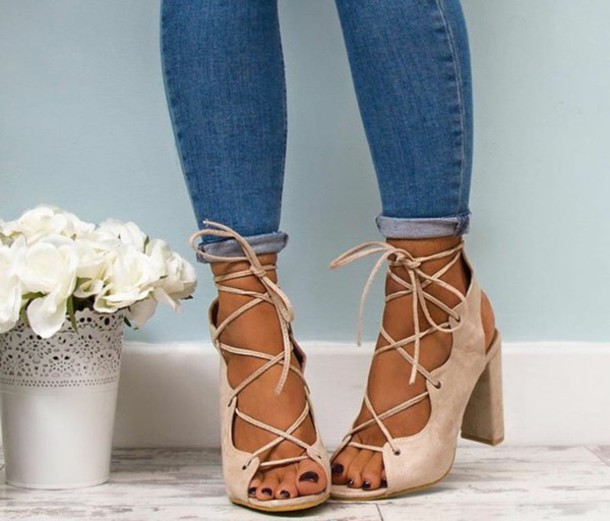 51bb8b626b49 shoes nude high heels lace up heels thick heel suede peep toe heels