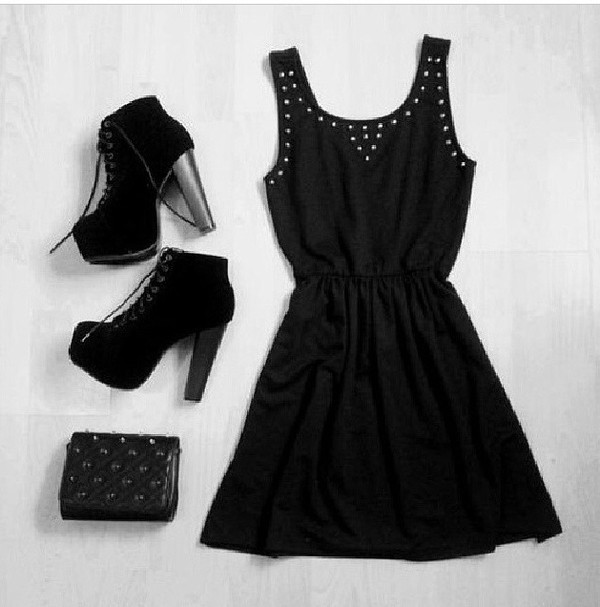 dress little black dress black shoes high heels bag pretty cute dress black dress black shoes strass studded short dress party clothes heels black heels booties shoes casual cute sparkle little black dress pearl pearl silver sparkles sparkle black bag little grunge studs sexy dress