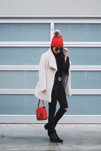 posh classy mom – a lifestyle blog by sheree blogger top coat jeans shoes belt hat sunglasses winter outfits beanie red bag gucci belt black jeans