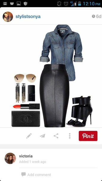 blouse skirt black black leather skirt leather pencil skirt black leather pencil skirty shoes shirt blue jean button down leather skirt