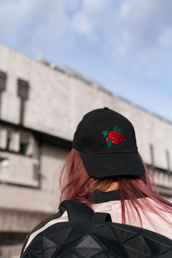 hat womensfashion cap black cap cap with embroidery embroidery of rose roses streetstyle