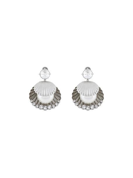 Miu Miu metal women shell pearl earrings grey metallic jewels