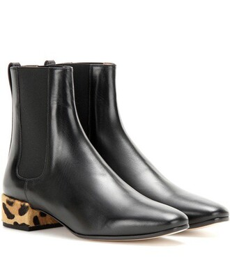 hair embellished boots chelsea boots leather black shoes