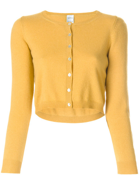 Sara Roka - cropped cardigan - women - Cashmere - 40, Yellow/Orange, Cashmere