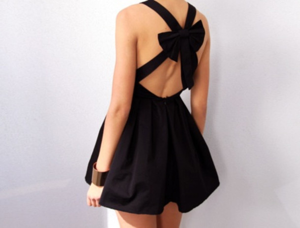 Dress: party, dressy, cute, bow dress, black, short dress, little ...