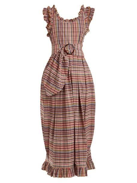 dress belted dress ruffle