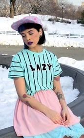 t-shirt,melanie martinez,blue shirt,blue t shirt,shirt,pastel goth,stripes,pin stripes,beautiful,fashion,tattoo,cute,baby,cry baby,ear plug,lazy day shirt,blue,jersey