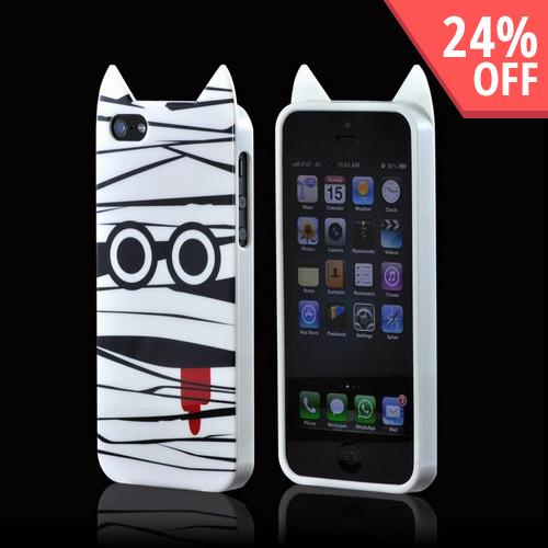The Apple iPhone 5 Crystal Silicone Case w/ Pointy Ears - White Mummy comes w/ Free Shipping AccessoryGeeks