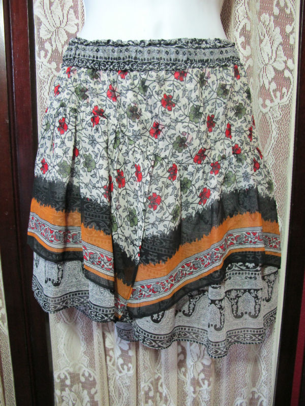 New of two minds silk tiered floral boho skirt sz l