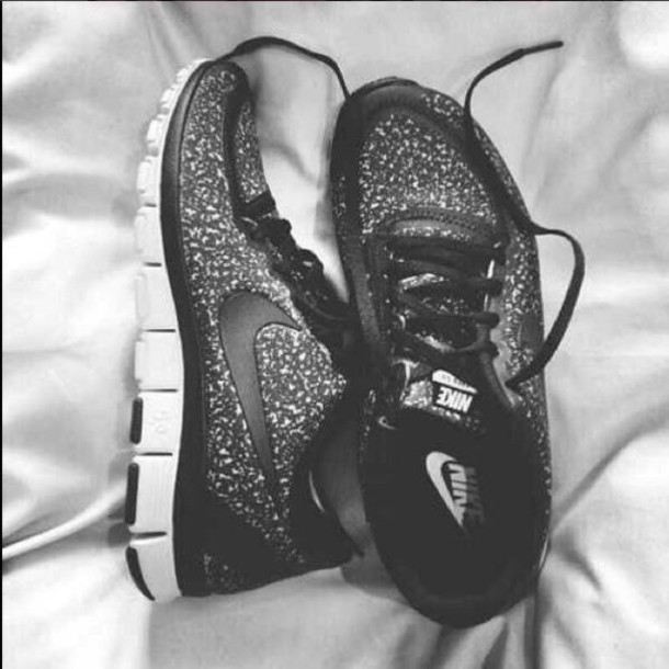 Sparkly Black Nike Shoes