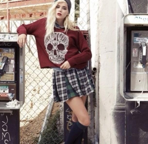 sweater skull burgundy white red tumblr girl grunge indie jacket
