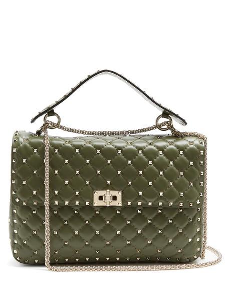 quilted bag shoulder bag leather khaki