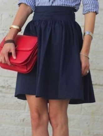 skirt blue navy belt high waisted medium length work outfits