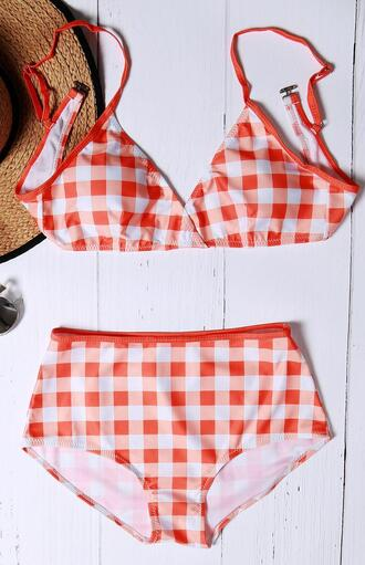 swimwear bikini plaid checkered red summer beach wealfeel