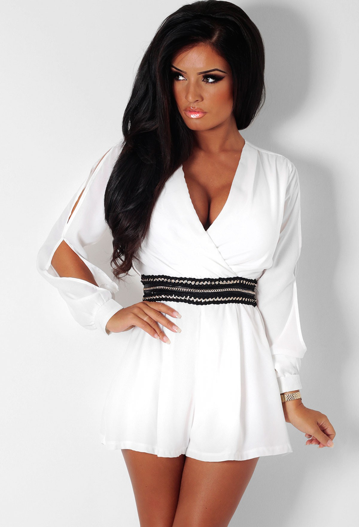Zahra Cream Slash Sleeve Chain Waist Playsuit | Pink Boutique