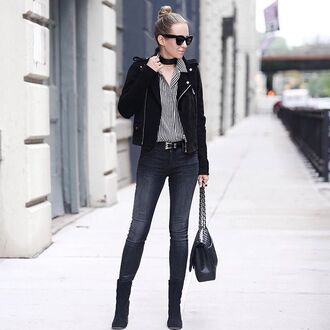 jeans tumblr skinny jeans black jeans shirt striped shirt stripes jacket black jacket suede jacket sunglasses black sunglasses choker necklace black choker bag black bag boots black boots winter outfits winter look